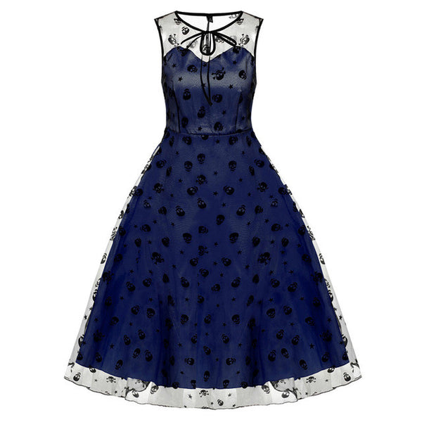 Retro Vintage Style Sleeveless Mesh Embroidery Long Cocktail Party Dress Flower Skull Ball Grown