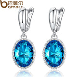 BAMOER Luxury Big Green Stone Drop Earrings Jewelry Engagement Accessories