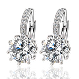 Alloy Silver Geometry Crystal Earring Simple Jewelry Design Round Zirconia Statement Earrings