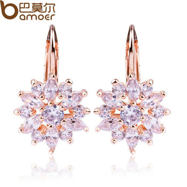 BAMOER Luxury Gold Flower Stud Earrings with Zircon Stone Women Birthday Gift