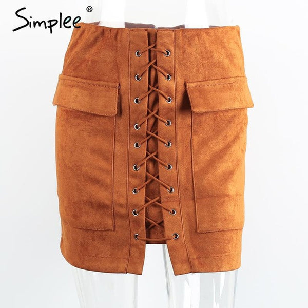 Simplee Lace Up Suede Leather Skirt Vintage Pocket Preppy Short Winter High Waist Casual Skirts