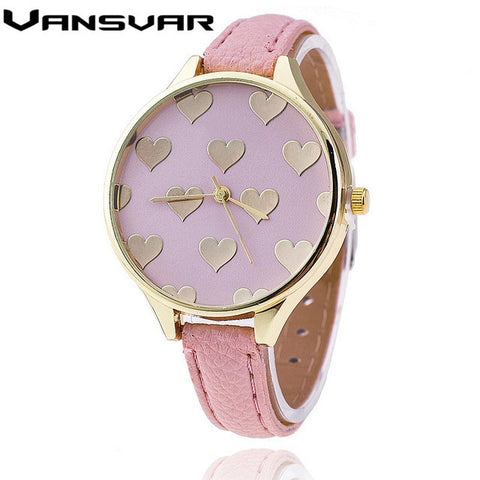 Vansvar Leather Strap Women Watch Casual Love Heart Quartz Wrist Watch Relogio