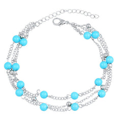 17KM Turquoise Beads Anklet Chain Ankle Snow Bracelet Charm Leaf Tassel Beach Vintage Foot Jewelry