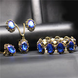 Wedding Jewelry Sets Vintage Crystal Bronze Plated Kate Princess Necklace Earrings Bracelet Rings