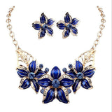 Jewelry Sets Necklace Earrings Crystal Enamel Flower African Maxi Statement Wedding Pendant Jewelry