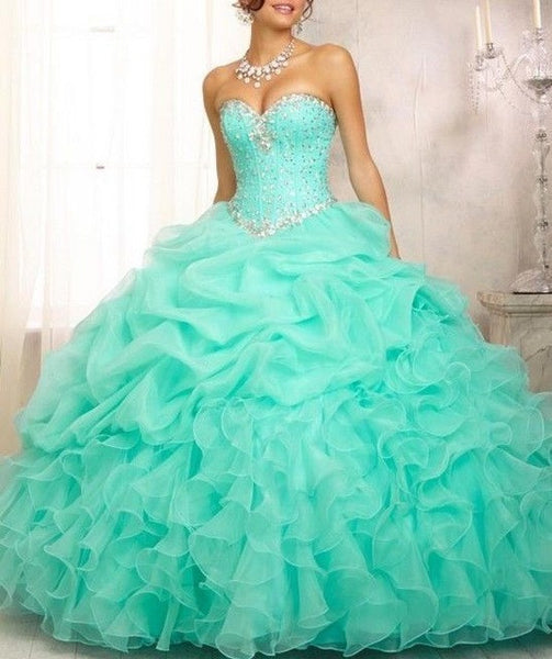 Mint Pink Ball Gown Quinceanera Dresses Organza Beads Crystal Sequined Sweet 16 Dress For 15 Years