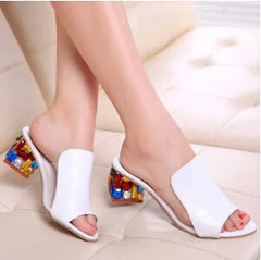 Rhinestone Peep Toe Heels Women Sandals Shoes Sexy Open Toe Wedge Slides High Heels Sandals