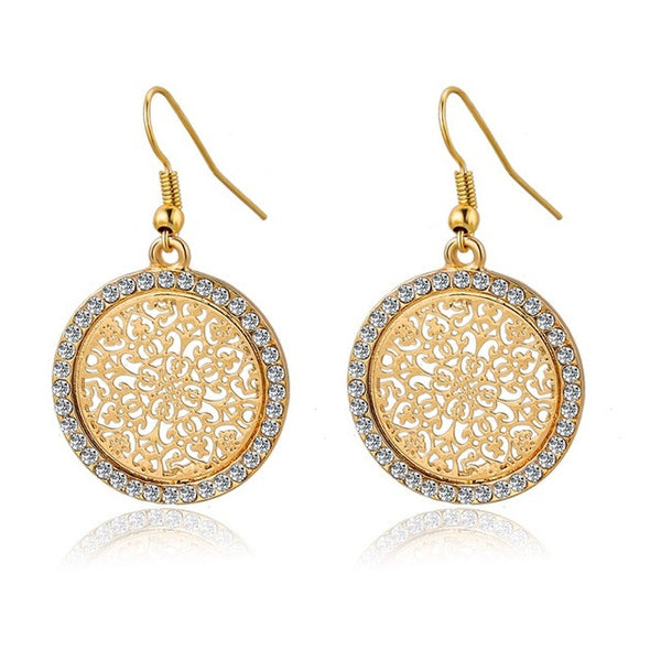 Pendientes Vintage Big Round Flower Gold Silver Statement Drop Earrings Crystal Wedding Earrings