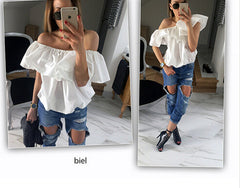 Sexy  Blouses  off  Shoulder Elastic Slash Neck Casual  Top Shirts Red Yellow