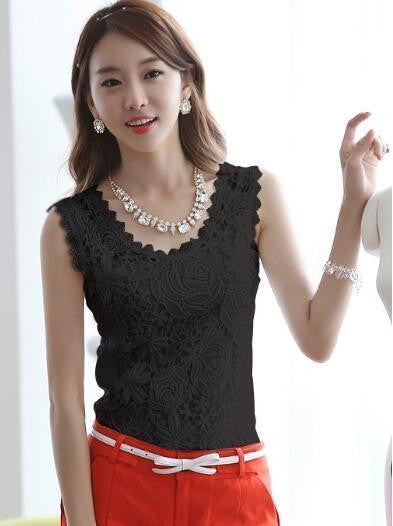 Blouse Lace Vintage Sleeveless White Renda Crochet Casual Shirts Tops