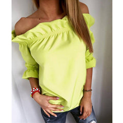 Women Blouse Puff Sleeve Slash Neck Solid Shirt Strapless Off Shoulder Ruffles Feminine Ladies Tops