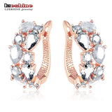 LZESHINE Flower Earrings Rose Gold Plate Multicolor Cubic Zircon Stud Earrings for Women