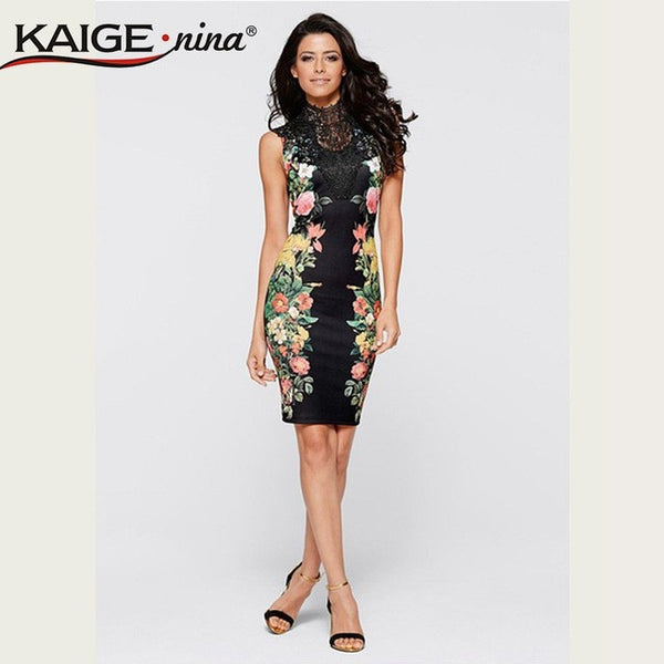 Tropical Floral Print Mesh Vestidos Striped Patchwork Sheath stand Sleeveless summer Dress