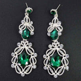 Big Long Crystal Drop Earrings Vintage Flower Bohemian Style Fine Jewelry Wedding Accessories