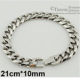 Men Bracelet Cuban Links & Chains Silver Stainless Steel Bracelet Bangle Male Accessories