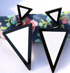 Fluorescent Colorful Punk Style Triangle Studs Earrings