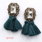 Jewelry Crystal Vintage Tassel Statement Bib Stud Earrings