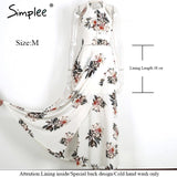Simplee Floral Print Halter Chiffon Long Dress White Split Beach Summer Sexy Backless Maxi Dresses