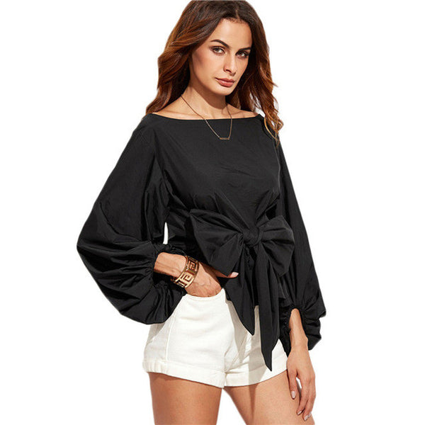 COLROVIE Shirts Tops Blouses Long Sleeve Blouse Boat Neck Lantern Sleeve Bowknot Blouse