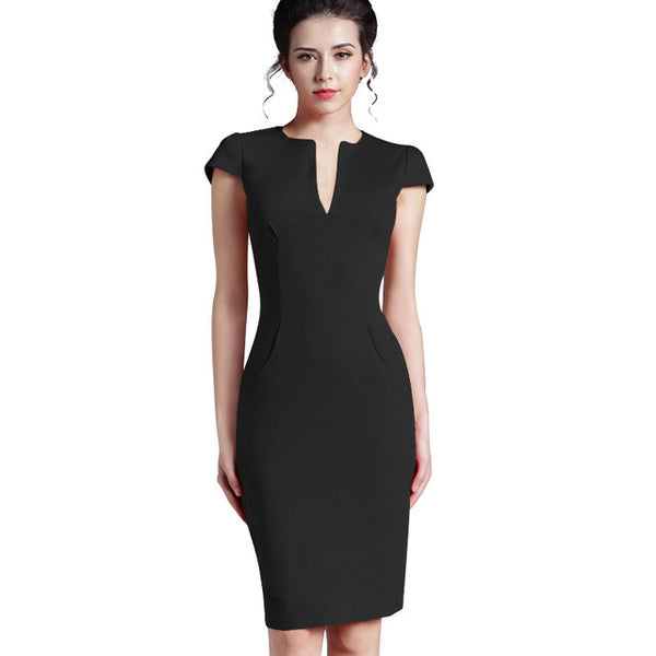 Nice-forever Vintage Deep V Neck Plus Size Zipper Back Formal Stretch Pencil Work Bodycon Dress
