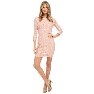 Berydress Sexy Bodycon Sheath 3/4 Sleeve Full Zip Back Short Lace Dresses