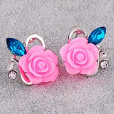 Crystal Stud Earrings Hot Sale Classic Gold Plated Rose Flower Earring Girls Brincos Jewelry