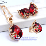 Gold Plated Jewelry Water Drop Crystal Peacock Bridal Wedding Jewelry Sets