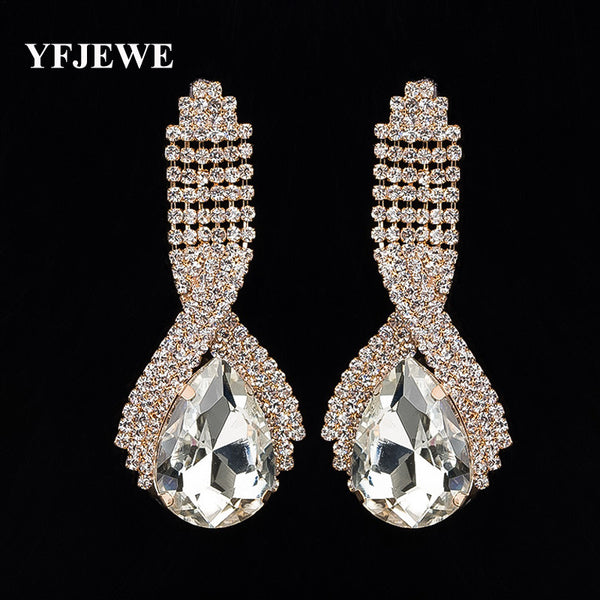 Accessories Supercorp Sparkling Crystal Big Drop Earrings for Women Long Wedding Earrings