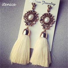 Retro Royal Fashion Rhinestone Crystal Pearl Yarn Ethnic Wire Drop Tassel Earrings Jewelry for Women