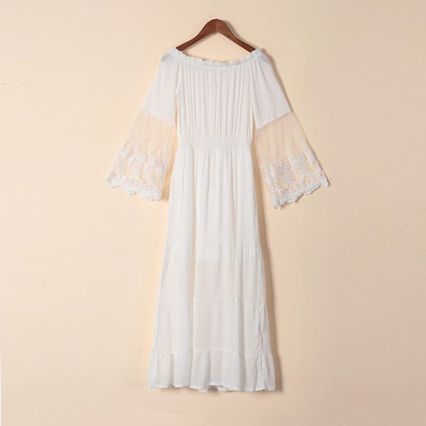 Sexy Lace Patchwork Maxi Long Dress Slash Neck Off Shoulder Flare Sleeve Beach Party White Dresses