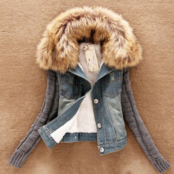 Casaco Women Denim Jacket Movable Furs Collar Wool Coat Bomber Jacket Jean Women Basic Coats