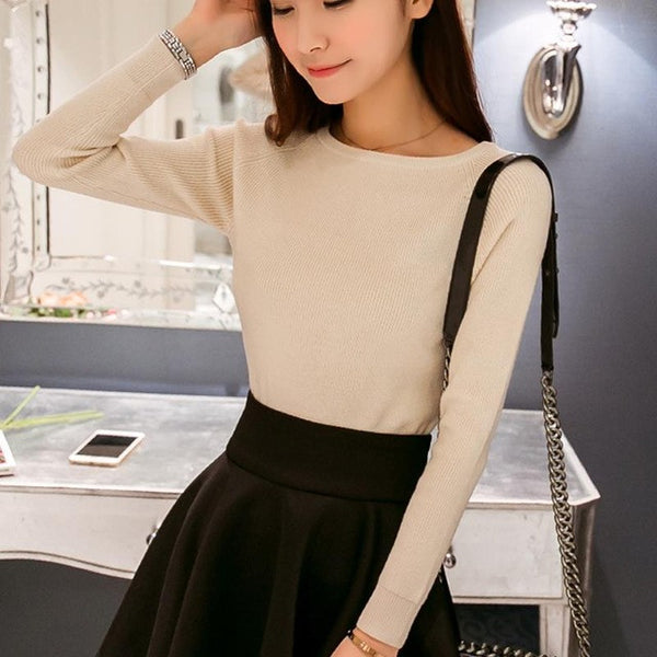 Cashmere Sweater Women Sexy Big O-Neck Sweaters Pullover Warm Long Sleeve Knitted Sweater