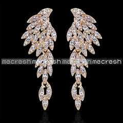 Mecresh Eagle Crystal Bridal Drop Long Earrings Stones Silver Plated Bird Party Wedding Jewelry