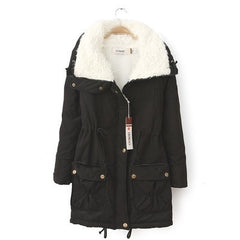Winter Coat Women Slim Outwear Medium-Long Wadded Jacket Thick Hooded Cotton Warm Parkas