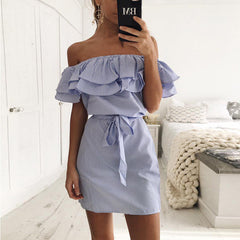 Cotton Summer Dress Short Sleeve Off Shoulder Ruffles Striped Shirt Dresses Casual Robe