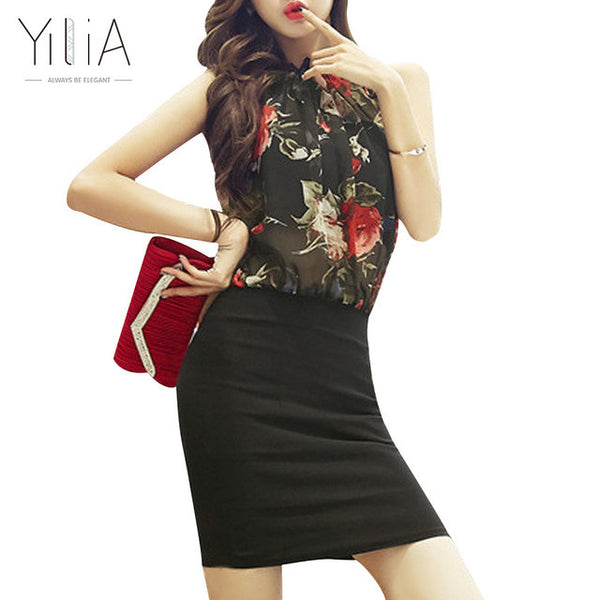 Yilia Rose Floral Chiffon Vintage Bodycon Vestido Sexy Sleeveless Halter Red Black Party Dresses