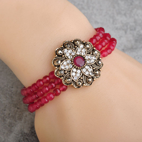 Elastic Turkish Red African Beads Crystal Flower Vintage Resin Antique Gold Stretch Bracelets