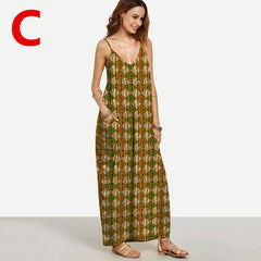Weljuber Long Maxi Boho Summer Strap Dress Beach Wear Strap Deep V Neck Sleeveless Dresses