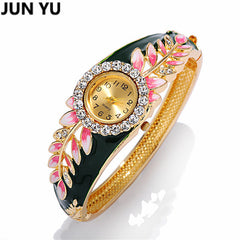 Leaf 18K Gold Luxury Watch Colorful Abstract Enamel Paint Crystal Rhinestone Bangle Wristwatches