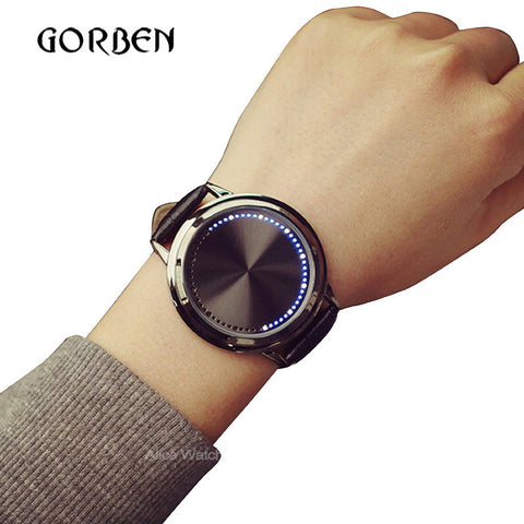Casual Mens Watches Leather Touch screen LED Women's Sports watches Mens Bracelet watches