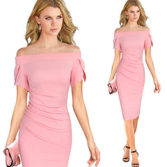 Vfemage Elegant Ruched Draped Slash Neck Off Shoulder Vintage Casual Party Evening Bodycon Dress