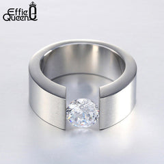 Effie Queen Men Women Wedding Band Titanium Steel Rings Wiredrawing Stainless Steel Zircon Ring