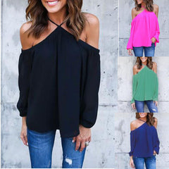 CELMIA Off Shoulder Blouse Summer Halter Long Sleeve Chiffon Top Solid Casual Loose Shirts Blouse