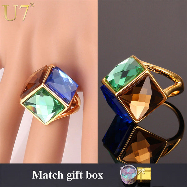 U7 Big Green Crystal Ring Gold Color Party Jewelry Trendy Colorful Fancy Stone Statement Rings