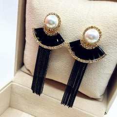 Luxury Crystal Tassel Long Earrings New Design Party Jewelry Black Fine Quality