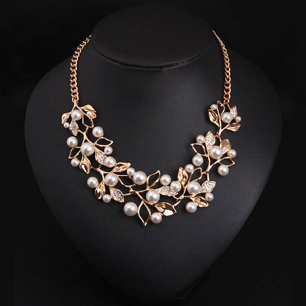 Match-Right Simulated Pearl Necklaces Pendants  Leaves Statement Necklace Collares Ethnic Jewelry