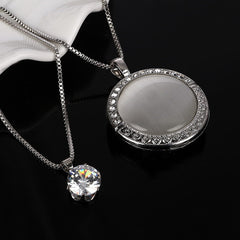 ZOSHI Vintage Long Silver Color Statement Round Eye Cat Necklaces Pendants Multi Layer Jewelry