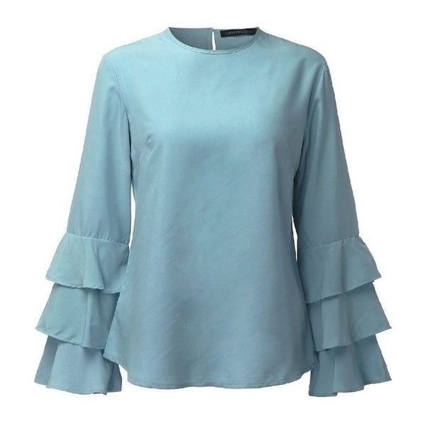 ZANZEA Blouses Shirts Elegant Ladies O-Neck Flounce Long Sleeve Solid Casual Loose Tops Pullovers