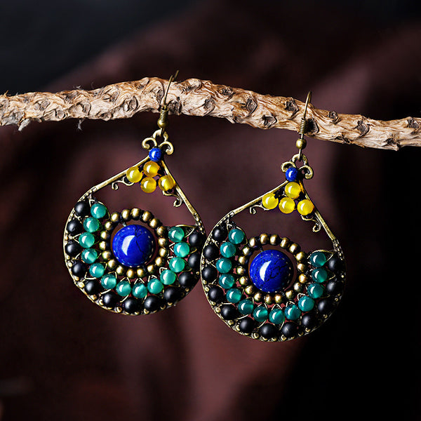 Ethnic Trendy Blue Stone bronze green black Synthetic Carnelian Water Drop Hook Vintage Jewelry