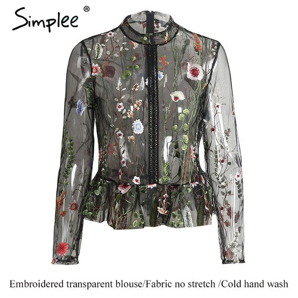 Simplee Black Flower Embroidery Blouse Shirt Tops Blouse Transparent Long Sleeve Summer Blouse